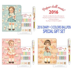 [Afrocat][Made In Korea] Paper Doll Mate Daily Diary 2016 Daily Book Note + 3 Colors Multi Ball Pen...