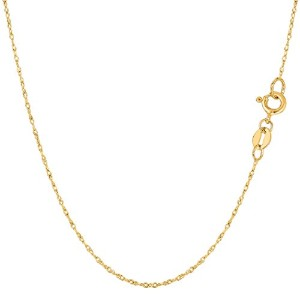 """10k Yellow Gold Rope Chain Necklace, 0.6mm, 18"""""""