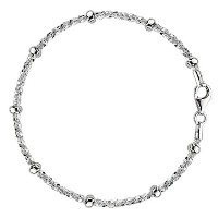"""Sparkle Saturn Style Chain Anklet In Sterling Silver, 9"""""""