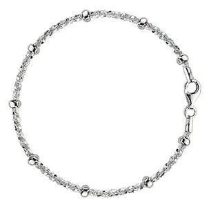 """Sparkle Saturn Style Chain Anklet In Sterling Silver, 10"""""""