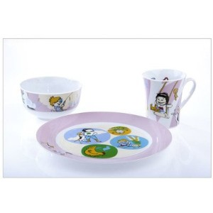 Kidliga Sammie & Sax 3ピース部分制御食器セットfor Kids inブルーwith Book
