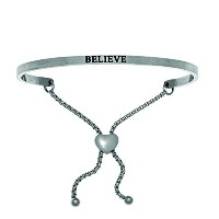 Intuitions Stainless Steel Believe Bangle Bracelet