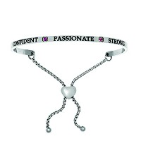 Intuitions Stainless Steel Confident, Passionate, Strong July Bright Red Birthstone Bangle Bracelet