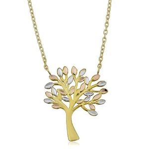 """10K Tricolor Gold Tree Of Life Pendant On 17"""" To 18"""" Adjustable Necklace"""