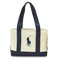 ポロラルフローレン トートバッグ RA100023A NATURAL×NAVY/MD POLO RALPH LAUREN ショルダーバッグ POLO PONY TOTE MD BIG PONY...