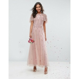 エイソス レディース ワンピース トップス ASOS WEDDING Iridescent Delicate Beaded Flutter Sleeve Maxi Dress Nude