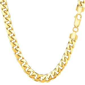 """14k Yellow Gold Miami Cuban Link Chain Necklace - Width 5.8mm, 30"""""""