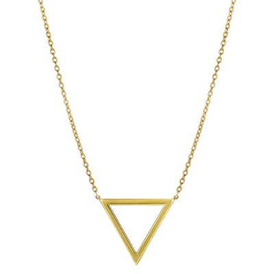 """14k Yellow Gold Triangle Delta Symbol Pendant On 18"""" Necklace"""