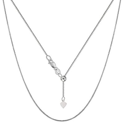 """14k White Gold Adjustable Box Link Chain Necklace, 0.7mm, 22"""""""