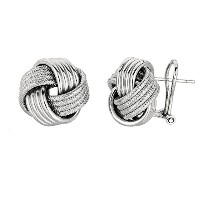 Sterling Silver Rhodium Finish 14mm Shiny And Textured Love Knot Omega back Earrings