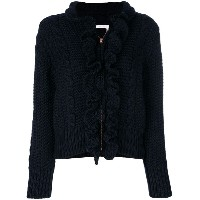 See By Chloé - knitted ruffle front zip cardigan - women - ウール - S