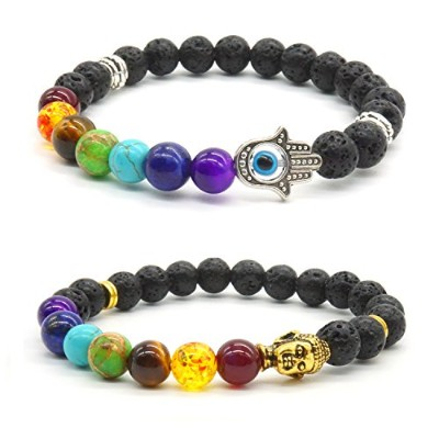 2 x BuddhaブレスレットパートナーBracelet Colored Agate StoneブレスレットLoversブレスレットセット