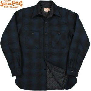 SUGAR CANE/シュガーケーン Made in U.S.A. WOOL CHECK LINED WORK SHIRTオンブレーチェック、裏地キルティング・ワークシャツ/ C.P...