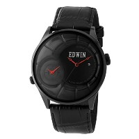 Edwin VINTAGED Men's Dual time Watch, Stainless Steel Case with Genuine Leather Strap