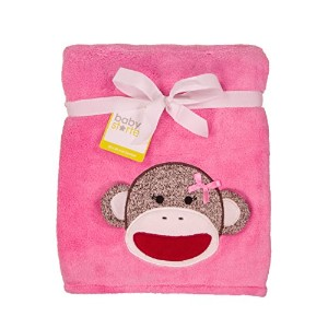 Baby Girl Sock Monkey Coral Plush Boa Blanket by Baby Starters - Pink - Not Applicable by Baby...