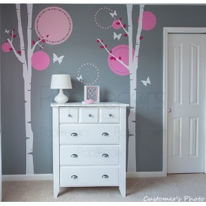 PopDecors - Nursery Trees Wall Decal Baby Girls Wall Murals Elegant Tree Stickers Flying Butterflies...