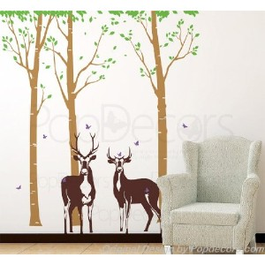 PopDecors - Tree Forest with Deer - Free Squeegee and color change - Tree Wall Decals Forest Tree...