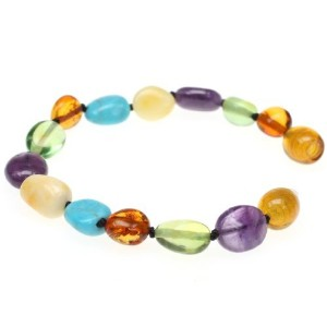 AMBER BRACELET Amberbeata River of Colors Baltic Amber Teething Bracelet and Anklet for Baby Cognac...
