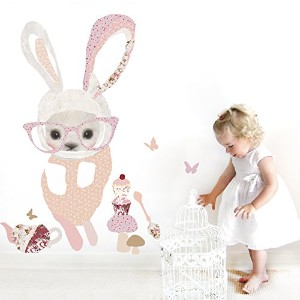 Oopsy Daisy Bunny in Glasses Peel and Place, Pink, 54 x 30 by Oopsy Daisy