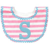 Mud Pie Baby-Girls Newborn S Girl Initial Bib, Pink, One Size by Mud Pie