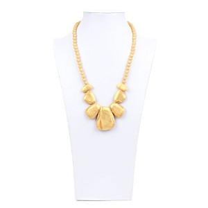 Bumkins Nixi Rocca Silicone Teething Necklace, Gold by Bumkins