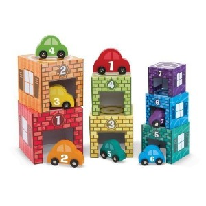 Nesting + Sorting Garages & Cars 14-Piece (7 Garages & 7 Cars) Play Set by Melissa & Doug [並行輸入品]