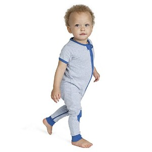 Baby Deedee Short Sleeve 1 Piece Footless Romper Pajama, Heather Blue, 12-18 Months by baby deedee