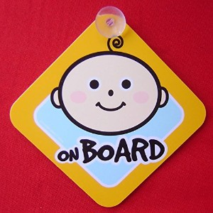 Baby on Board - - Large 6 x 6 Yellow Car Signs with 2 Attached Suction Cups. by Cool Big Deal