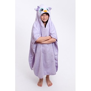 30 x 30 Large Owl Velour Poncho Hooded Towel, Purple, Frenchie Mini Couture by Frenchie Mini Couture