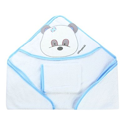 Bebekevi 100% Turkish Cotton Panda Hooded Towel and Washcloth for Baby Boy White by Bebekevi