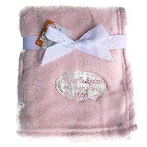 Fluffy Soft Pink Baby Blanket 30 x 30 Inch for Girl Embroidery Sugar and Spice and Everything Nice...