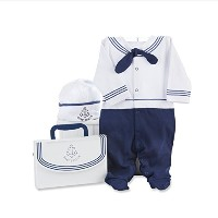 Baby Aspen Big Dreamzzz Baby Sailor Two-Piece Layette Set, Blue/White, 0-6 Months by Baby Aspen