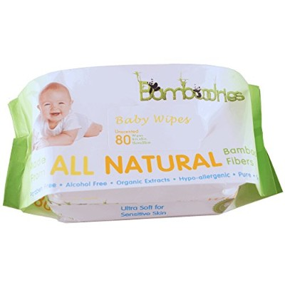 Baby Wipes - Unscented - All Natural Bamboo for Sensitive Skin - Soft Case and Easy Dispenser -...