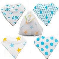 White and blue bibdana set for babies, in presentation bag, by SDB by SunnyDayBabies