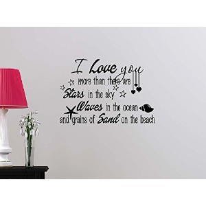 I love you more than there are stars in the sky waves in ocean STARS cute beach sticker nursery...