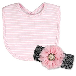 Stephan Baby Bib and Jeweled Flower Headband Gift Set, Pink and White Pinstripe by Stephan Baby