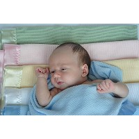 Thermal Waffle Weave Baby Blanket with Satin Nylon Trim (blue) by Thermal Baby Blanket [並行輸入品]