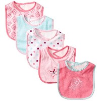 Luvable Friends 5 Piece Character Bib with Waterproof Backing, Pink Butterfly by Luvable Friends