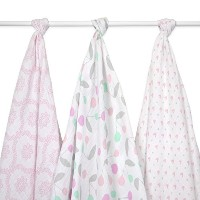 Just Born Muslin Blankets, Cherries and Hearts, Pink/Grey/White by Just Born
