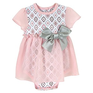 Stephan Baby Snapshirt-Style Chiffon Skirted Diamond Flower Diaper Cover, Pink/Grey/White, 6-12...