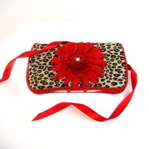Cheetah with red flower and Swarovski crystal baby wipes case by Ajo.Bebe [並行輸入品]