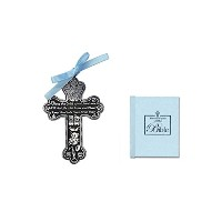 BABY Boy's First Little Bible & CRIB CROSS Gift Set - Bless This Child - BAPTISM Christening BOXED...