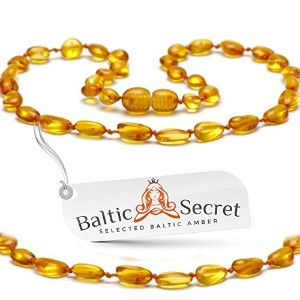 Amber Teething Necklace for Babies, Certified Amber Beads, 50% Higher in Value and Effectiveness,...