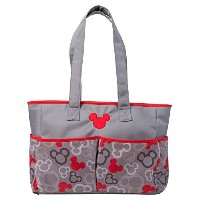 Disney Mickey Mouse Diaper Bag, Gray/Red, Large by Disney