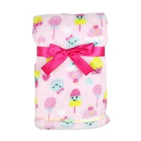 Baby Gear Plush Velboa Ultra Soft Baby Girls Blanket 30 x 40 Pink Candy Friends by Baby Gear