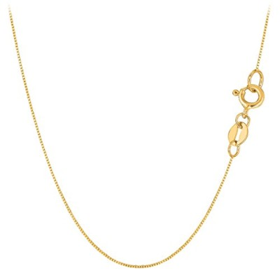 """10k Yellow Gold Classic Mirror Box Chain Necklace, 0.6mm, 18"""""""