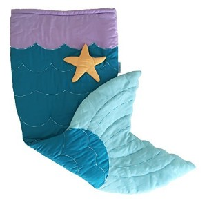 Quilted & Embroidered Mermaid Tail Blanket (Ages 3 - 12) Sleeping Bag Sack Nap Mat with Pocket &...