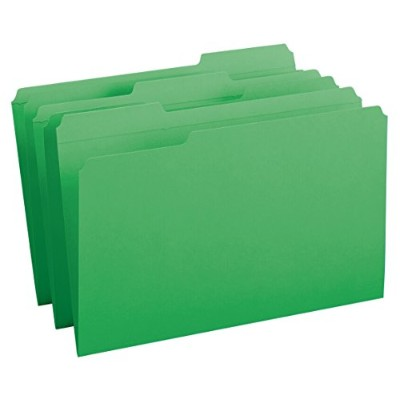 File Folders, 1/3 Cut, Reinforced Top Tab, Legal, Green, 100/Box (並行輸入品)