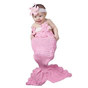 Wind of Spring Newborn Baby Crochet Knitted Photo Photography Props Pink Mermaid Tail Romper Outfit...