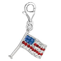 Sterling Silver Crystal Clip On American flag Charm